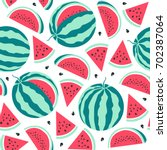 watermelon  pattern. vector... | Shutterstock .eps vector #702387064