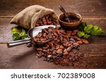 cocoa concept with raw  peeled  ... | Shutterstock . vector #702389008