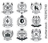 vintage decorative emblems... | Shutterstock . vector #702392740