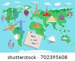travel all over the world. map... | Shutterstock .eps vector #702395608