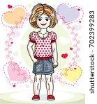 beautiful happy little red... | Shutterstock . vector #702399283