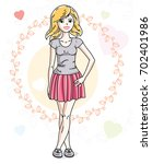 young beautiful blonde woman... | Shutterstock . vector #702401986
