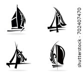 sailing set  on white... | Shutterstock .eps vector #702407470