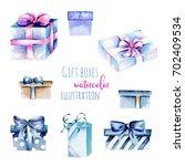 set of watercolor blue gift... | Shutterstock . vector #702409534