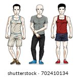 handsome young men group... | Shutterstock . vector #702410134