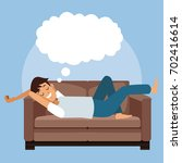 colorful scene man sleep with... | Shutterstock .eps vector #702416614