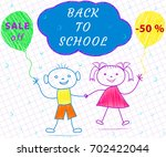 contour drawing of boy  girl.... | Shutterstock .eps vector #702422044