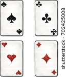 hand drawing of the aces cards | Shutterstock .eps vector #702425008