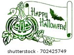mosaic label with halloween... | Shutterstock .eps vector #702425749