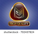 golden emblem with book icon... | Shutterstock .eps vector #702437824