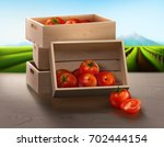 a wooden crate on the table... | Shutterstock .eps vector #702444154