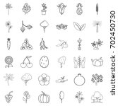tree icons set. outline style... | Shutterstock .eps vector #702450730