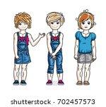 cute little girls standing in... | Shutterstock . vector #702457573