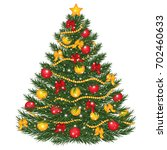 vector decorated christmas tree.... | Shutterstock .eps vector #702460633