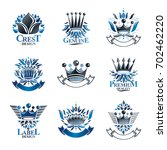 imperial crowns emblems set.... | Shutterstock . vector #702462220