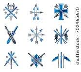 vintage weapon emblems set.... | Shutterstock . vector #702465670