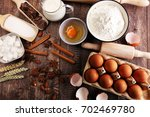 bakery ingredients   flour ... | Shutterstock . vector #702469780