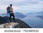 fit latin american male hiker... | Shutterstock . vector #702480520