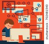 online advertising community... | Shutterstock .eps vector #702481540