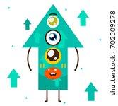 geometric monster  turquoise... | Shutterstock .eps vector #702509278