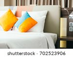 pillow on bed decoration...   Shutterstock . vector #702523906