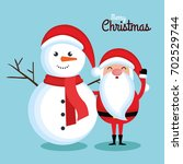 merry christmas santa claus and ... | Shutterstock .eps vector #702529744