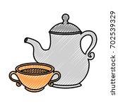 cute teapot kitchenware vector...   Shutterstock .eps vector #702539329