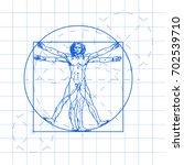 the vitruvian man blueprint.... | Shutterstock .eps vector #702539710