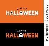 happy halloween typography over ... | Shutterstock .eps vector #702544780