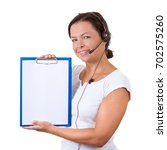 Small photo of Happy Woman with Headset Working at Callcenter Hold Clipboard ith Blank Paper for Yours Signs and Design on a white background