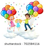 parents and little girl on... | Shutterstock .eps vector #702584116