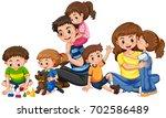 parents with five children...   Shutterstock .eps vector #702586489