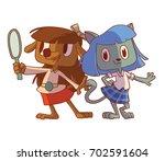 vector cartoon image of a funny ... | Shutterstock .eps vector #702591604