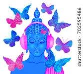 groove. modern buddha listening ... | Shutterstock .eps vector #702595486