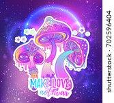 magic mushrooms. psychedelic... | Shutterstock .eps vector #702596404