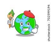 artist world globe character... | Shutterstock .eps vector #702599194