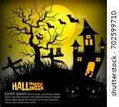 halloween background with... | Shutterstock .eps vector #702599710