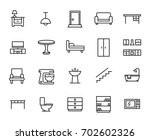 premium set of furniture line... | Shutterstock .eps vector #702602326