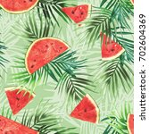watermelon seamless pattern.... | Shutterstock . vector #702604369