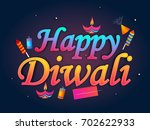 shiny text happy diwali with... | Shutterstock .eps vector #702622933
