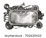 metal frame and old auto spare...   Shutterstock . vector #702635410