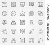language learning outline icons.... | Shutterstock .eps vector #702640540