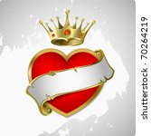 Red Heart With A Gold Crown. A...