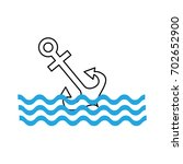 anchor maritime with waves | Shutterstock .eps vector #702652900