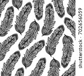 feather background hand drawn | Shutterstock . vector #702656059