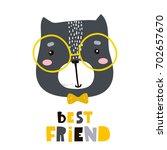 cute cartoon cat face print.... | Shutterstock .eps vector #702657670