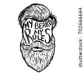 my beard my rules. human beard... | Shutterstock .eps vector #702666664