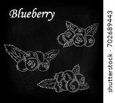 blueberries drawn chalk on a...   Shutterstock .eps vector #702689443