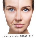 woman's face before and after... | Shutterstock . vector #702691216