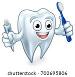 cute tooth dentists mascot... | Shutterstock .eps vector #702695806
